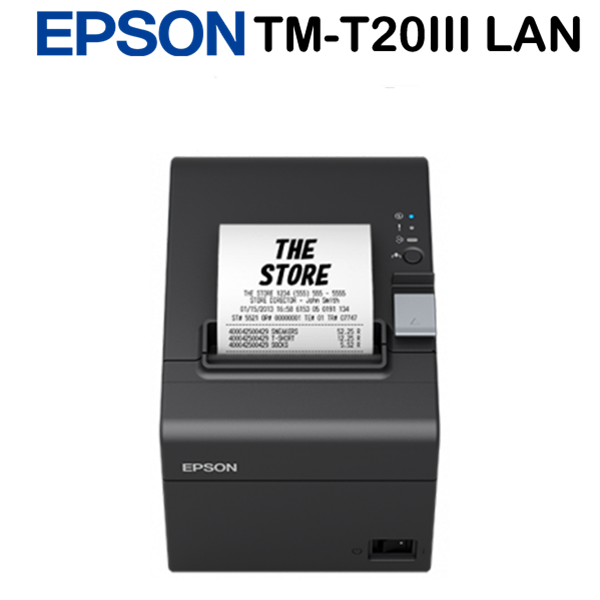 Epson TM-T20III (012) Blokknyomtató Ethernet, EU, Black, Drawer kick-out, Partial Cut