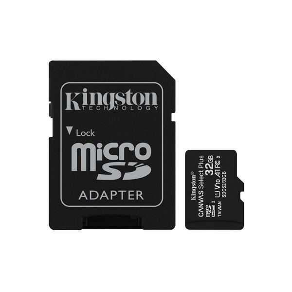 KINGSTON Memóriakártya MicroSDHC 32GB Canvas Select Plus 100R A1 C10 + Adapter (SDCS2/32GB)